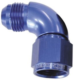 <strong>90° Full Flow Female/Male Flare Swivel -4AN </strong><br />Blue Finish