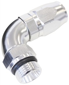 <strong>90° Male ORB Full Flow Swivel Hose End -8 ORB to -6AN</strong><br /> Silver Finish