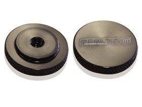 "<strong>Black Billet Air Cleaner Nut</strong><br />Low profile perfect for tight clearance applications, 1/4"" UNC"