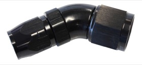 <strong>550 Series Cutter Style One Piece Swivel 45° Stepped Hose End -8AN to -6 Hose</strong><br /> Black Finish. Suits 100 & 450 Series Hose
