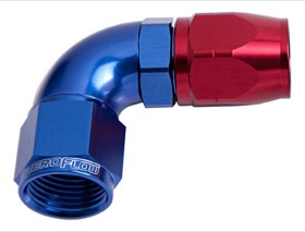 <strong>550 Series Cutter Style One Piece Swivel 90° Stepped Hose End -8AN to -6 Hose</strong><br /> Blue/Red Finish. Suits 100 & 450 Series Hose