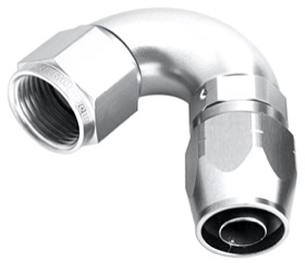 <strong>550 Series Cutter One-Piece Full Flow Swivel 120&deg; Hose End -6AN </strong><br />Silver Finish. Suits 100 & 450 Series Hose
