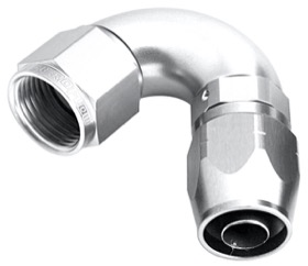 <strong>550 Series Cutter Style One Piece Swivel 120° Stepped Hose End -16AN to -12 Hose</strong> <br />Silver Finish. Suits 100 & 450 Series Hose