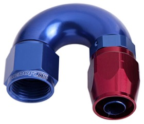 <strong>550 Series Cutter One-Piece Full Flow Swivel 180&deg; Hose End -4AN </strong><br />Blue/Red Finish. Suits 100 & 450 Series Hose