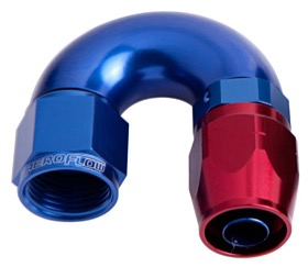 <strong>550 Series Cutter One-Piece Full Flow Swivel 180&deg; Hose End -10AN </strong><br />Blue/Red Finish. Suits 100 & 450 Series Hose