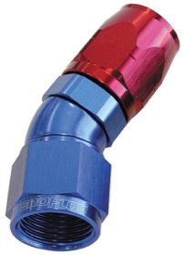 <strong>550 Series Cutter One-Piece Full Flow Swivel 30&deg; Hose End -6AN</strong> <br />Blue/Red Finish. Suits 100 & 450 Series Hose