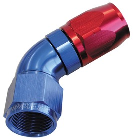 <strong>550 Series Cutter One-Piece Full Flow Swivel 60&deg; Hose End -4AN</strong> <br />Blue/Red Finish. Suits 100 & 450 Series Hose