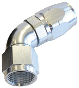 <strong>550 Series Cutter One-Piece Full Flow Swivel 60° Hose End -8AN</strong> <br />Silver Finish. Suits 100 & 450 Series Hose