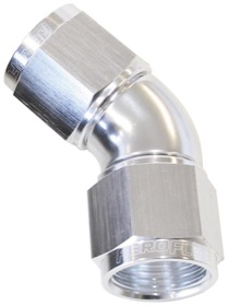 <strong>45&deg; Full Flow Female Coupler -8AN</strong> <br />Silver Finish