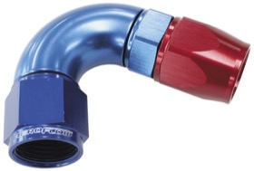 <strong>570 Series One-Piece Full Flow 120&deg; Hose End -4AN </strong><br /> Blue/Red Finish. Suit 200 Series PTFE Hose