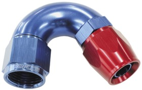 <strong>570 Series One-Piece Full Flow 150° Hose End -8AN </strong><br /> Blue/Red Finish. Suit 200 Series PTFE Hose
