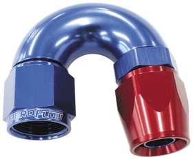 <strong>570 Series One-Piece Full Flow 180° Hose End -4AN </strong><br /> Blue/Red Finish. Suit 200 Series PTFE Hose