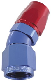 <strong>570 Series One-Piece Full Flow 30&deg; Hose End -6AN</strong><br /> Blue/Red Finish. Suit 200 Series PTFE Hose