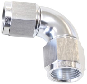 <strong>90° Full Flow Female Coupler -10AN</strong> <br />Silver Finish
