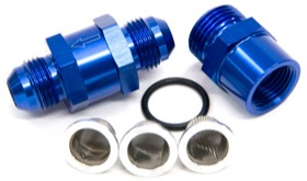 <strong>Inline Fuel & Oil Filter -6AN</strong><br /> Blue Finish. Includes 30, 80 and 150 Micron Elements