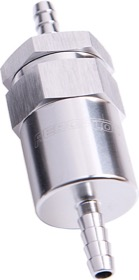 <strong>30 Micron Billet Fuel Filter 3/8&quot; Barb</strong> <br />Silver Finish. 2&quot; Length