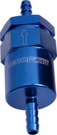 <strong>30 Micron Billet Fuel Filter 1/2&quot; Barb</strong> <br />Blue Finish. 2&quot; Length