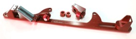 <strong>Billet Throttle Cable Bracket 4500 Dominator Style </strong><br />Red Finish