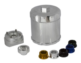"<strong>Spin On Reusable Billet Oil Filter - Silver </strong><br /> Suits 3/4"" & 13/16"" Threads"