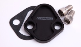 <strong>Billet Fuel Pump Block-Off Plate - Black </strong><br />Suit BB Chevy, Ford 289-351W, SB, BB