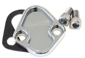 <strong>Billet Fuel Pump Block-Off Plate - Chrome </strong><br />Suit BB Chevy, Ford 289-351W, SB, BB