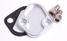 <strong>Billet Fuel Pump Block-Off Plate - Silver </strong><br />Suit BB Chevy, Ford 289-351W, SB, BB