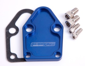 <strong>Billet Fuel Pump Block-Off Plate - Blue </strong><br />Suit SB Chevy