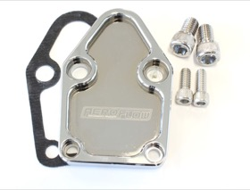 <strong>Billet Fuel Pump Block-Off Plate - Chrome </strong><br />Suit SB Chevy