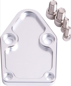 <strong>Billet Fuel Pump Block-Off Plate - Silver </strong><br />Suit SB Chevy