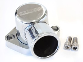 <strong>Billet 90° Thermostat Housing - Chrome </strong><br />Suit Ford 302-351C