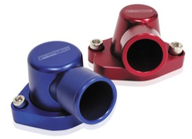<strong>Billet Thermostat Housing - Blue</strong><br /> Suit Holden V8 (Swivel. No Heater Outlet)
