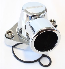 <strong>Billet Thermostat Housing - Chrome</strong> <br />Suit Holden V8 (Swivel. No Heater Outlet)