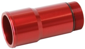 "<strong>Radiator Hose Adapters - Red</strong><br /> 1.75"" O.D., 2.75"" Length, 1-1/4""-20 thread, fits most electric water pumps"