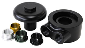 <strong>Billet Oil Filter Block Adapter</strong><br /> 90° Low Profile, Universal fitment, -8 ORB ports, Black anodised finish