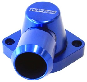 <strong>Billet Swivel Thermostat Housing - Blue</strong><br /> Suit Holden/Chevy LS3