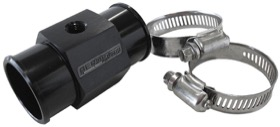 <strong>Radiator Hose Temperature Sender Adapter </strong><br />1-1/2&quot; (38mm) O.D., with 1/8&quot; NPT port, Black finish