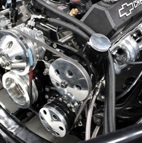 <strong>Billet Aluminium Power Steering Bracket </strong><br />Suit Small Block Chevy, High mount passenger side with long water pump, Black