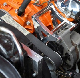<strong>Mid Mount Billet Alternator Bracket </strong> <br /> Polished Finish. Suit Holden V8 HQ-WB, passenger side