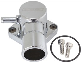 <strong>Billet Aluminium Swivel Thermostat Housing - Chrome Finish</strong> <br />Suit Ford Falcon EF-FG 6 Cyl. 2005-on