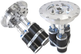 <strong>Billet Triple Fuel Pump Hanger - Polished </strong><br />Suits Aeroflow or Bosch style pumps, 8