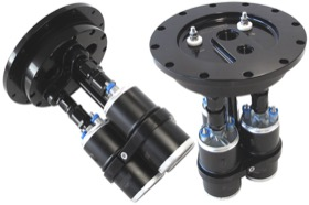 <strong>Billet Triple Fuel Pump Hanger - Black</strong> <br />Suits Aeroflow or Bosch style pumps, 8