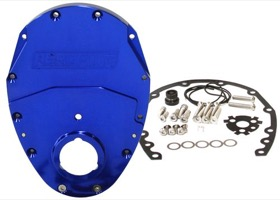 <strong>2-Piece Billet Aluminium Timing Cover - Blue Finish</strong><br/> Suit S/B Chev & 90&deg; V6. Includes Cover, Gaskets, Seal, Roller Cam button, Mounting Hardware and Replacement O-Ring