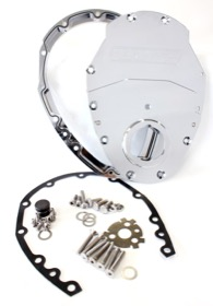 <strong>2-Piece Billet Aluminium Timing Cover - Chrome Finish</strong><br/> Suit S/B Chev & 90° V6. Includes Cover, Gaskets, Seal, Roller Cam button, Mounting Hardware and Replacement O-Ring