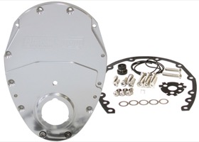 <strong>2-Piece Billet Aluminium Timing Cover - Silver Finish</strong><br /> Suit SB Chevy & 90&deg; V6. Includes Cover, Gaskets, Seal, Mounting Hardware and Replacement O-Ring