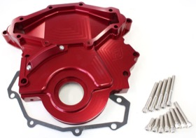 <strong>Billet Timing Cover </strong><br /> Red Finish. Suit Holden 253-304-308