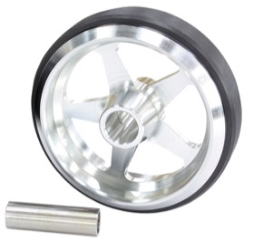 <strong>Billet Aluminium Wheelie Bar Wheel</strong> <br />With option to use 3/8 to 1/2&quot; through bolt, Natural Finish.