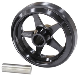 <strong>Billet Aluminium Wheelie Bar Wheel</strong> <br />With option to use 3/8 to 1/2&quot; through bolt, Black Finish.