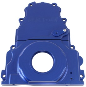 <strong>2-Piece Billet Aluminium Timing Cover - Blue Finish</strong><br />Suit GM LS Series. Includes Mounting Hardware and Cam Sensor Plug.