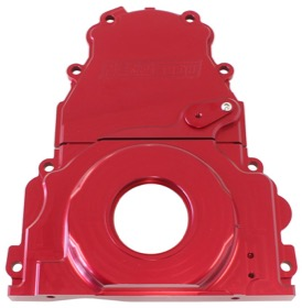 <strong>2-Piece Billet Aluminium Timing Cover - Red Finish</strong><br />Suit GM LS Series. Includes Mounting Hardware and Cam Sensor Plug