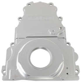 <strong>2-Piece Billet Aluminium Timing Cover - Silver Finish</strong><br /> Suit GM LS Series. Includes Mounting Hardware and Cam Sensor Plug